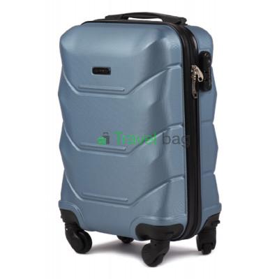 Чемодан пластиковый WINGS 147 мини серебристо-синий 51 см