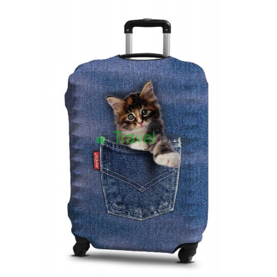 Чехол на чемодан размер L дайвинг с рисунком котенок