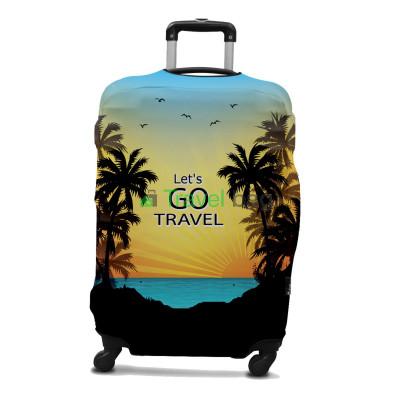 Чехол на чемодан размер L дайвинг с рисунком Let's GO TRAVEL