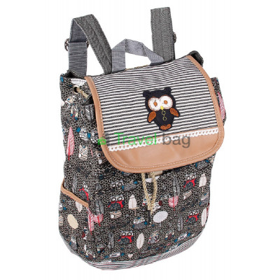 Рюкзак женский Сова тканевый темно-серый R50569