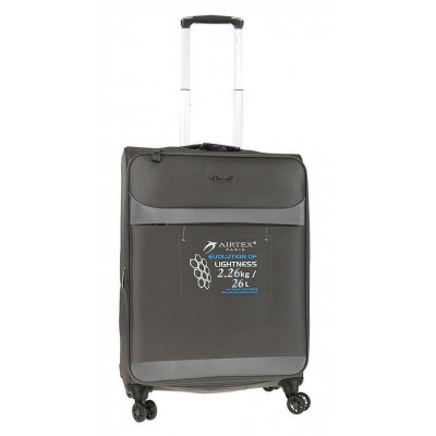 Чемодан малый AIRTEX 822 на 4-х колесах серый тканевый 50 см