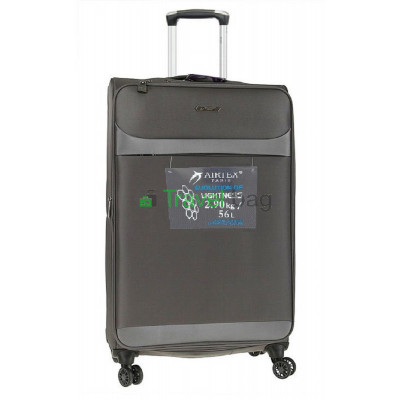 Чемодан средний AIRTEX 822 на 4-х колесах серый тканевый 60 см