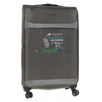 Чемодан большой AIRTEX 822 на 4-х колесах серый тканевый 70 см