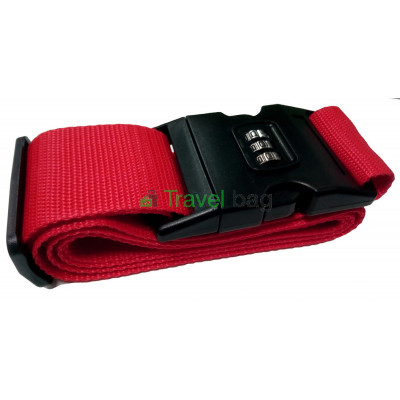 Ремень для чемодана с замком красный